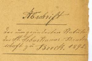 Abschrift der Statuten von 1892 am 09. April 1893