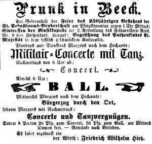 Erkelenzer Kreisblatt No. 47, Mittwoch, 29.05.1895. Ungereimheit: Bei einem 250-jähriges Bestehen wäre das Gründungsjahr 1645 für die Sebastianus-Schützenbruderschaft anzunehmen. Nach heutigen Kenntnisstand ist dies falsch.