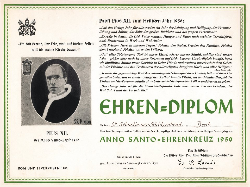 Ehrendiplom zur Verleihung des Anno-Santo-Ehrenkreuzes 1950