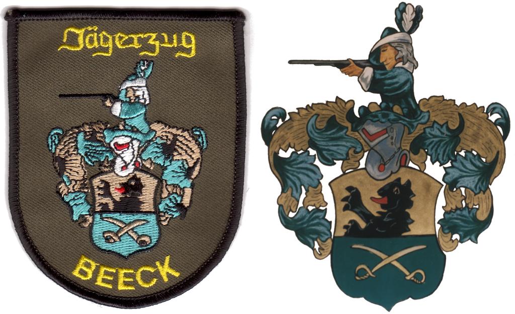 Ärmelaufnäher und Wappen des Jägerzuges
