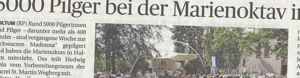 Rheinische Post, 08.07.2016 (Ausschnitt des Presseartikels, Foto Pfarre)