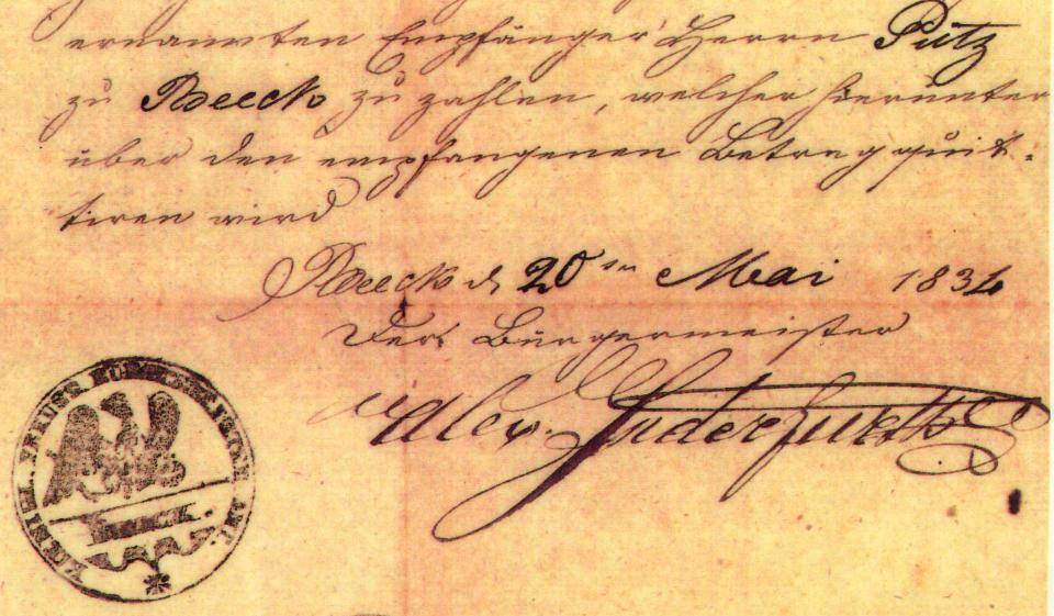 Erlaubnisschein zum Vogelschuss in Beeck von Bürgermeister Josef Alexander Inderfurth