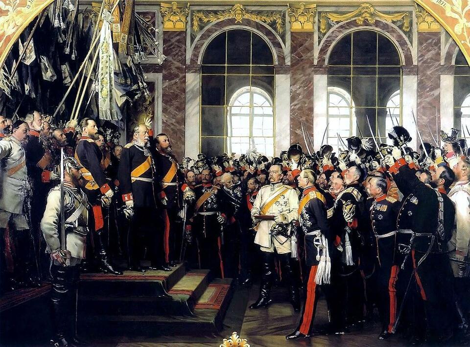 Die Proklamierung des deutschen Kaiserreiches (18. Januar 1871) im Spiegelsaal von Schloss Versailles, Bildquelle Wikipedia CC-PC