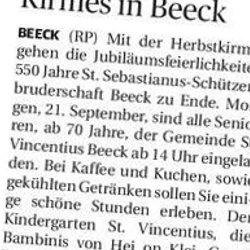 Rheinische Post, 20.09.2013 (Ausschnitt des Presseartikels)