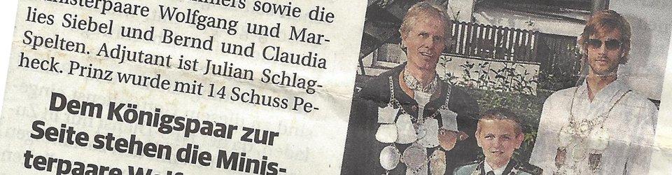 Rheinische Post, 07.05.2014 (Ausschnitt des Presseartikels, Foto Bruderschaft)