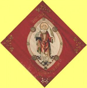 Bruderschaftsfahne aus dem Jahre 1910 mit St. Vincentius, unserem Pfarrpatron